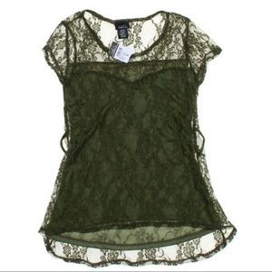 NWT Rue21 Green Lace Top, size JR S